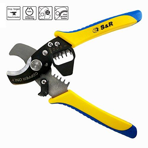 S&R Elektro-Kabelschneider Kupferkabel / Entmanteler 170 mm, Kabelschere bis 11 mm, Abisolierer AWG 14,12,10, 8 | Cutter | Abisolierwerkzeug
