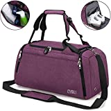 BonClare Sports Duffle Bag with Shoes Compartment and Wet Pocket, 42L Waterproof Gym Bag for Men and Women, Durable Travel Duffel Bag with Shoulder Strap and Combination Lock (APurple)
