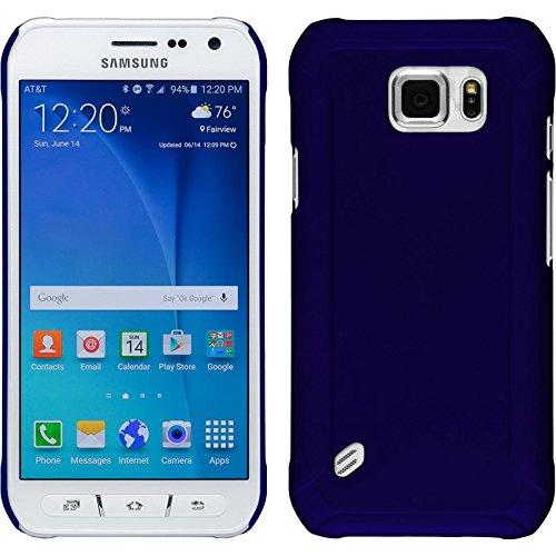 PhoneNatic Case für Samsung Galaxy S6 Active Hülle blau gummiert Hard-case + 2 Schutzfolien