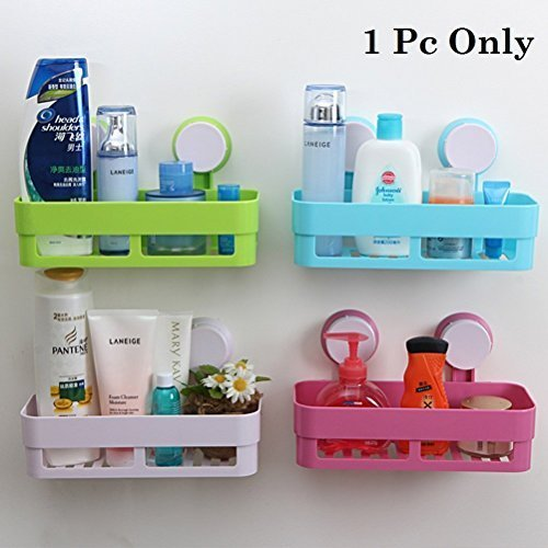 Fast Unbox Heavy Plastic Suction Cup Multi Storage Holder Wall Mounted Shelf for Bathroom (Multicolour)
