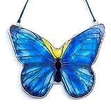 Mariposa vidriera - Vidrio - Cristal- Insecto lepidóptero - Atrapa luz - Colgar en la ventana - Colgar en la pared - Colgar en el techo - Decorativo - Vidrio pintado a mano -...