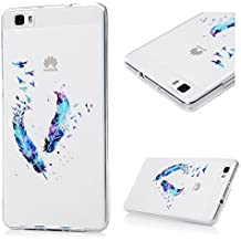 Funda Carcasa para Huawei P8 Lite 2015 2016 Case KASOS TPU Ultrafina Suave con Dibujo de Pluma Colorada