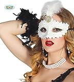 Guirca Fiestas GUI12703 - Weisse Maske mit Feder