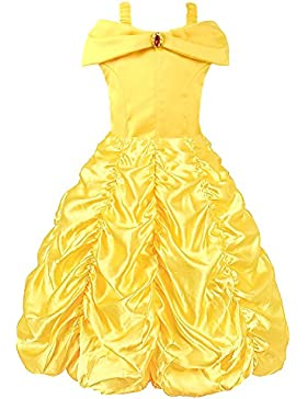 Viniolves Mädchen Prinzessin Belle Gelb Party Kostüm Mehrschichtiges Kleid