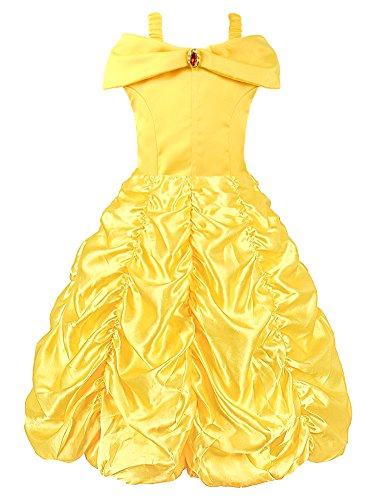 rinzessin Belle Gelb Party Kostüm Mehrschichtiges Kleid (Gelb, 7-8 Jahren) Herstellergrösse 150 (Prinzessin Belle Kleid Kostüm)