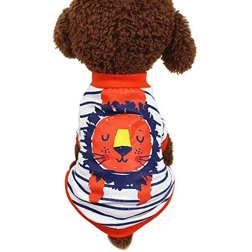 Hund Niedliches Hundekleidung Pet Kleidung Sommer Baumwolle Löwe Gedruckt Kurzarm T-Shirts Kleidung Pet Kleidung Niedlich Hundemantel Welpen Kostüme (XS, Orange) ()
