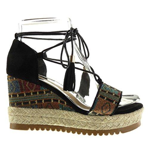 Angkorly Chaussure Mode Sandale Mule Plateforme Ouverte Femme Brodé Frange Corde Talon Compensé Plateforme 9 CM Noir