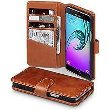 Samsung Galaxy A5 2016 Funda Cartera de autentico cuero con compartimento para billetera - Coñac