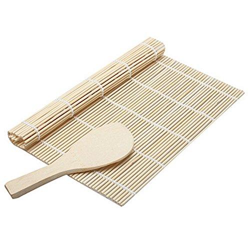 Bamboo sushi rolling kit mat with rice paddle tappeti e utensili sushi rolling mat roller maker