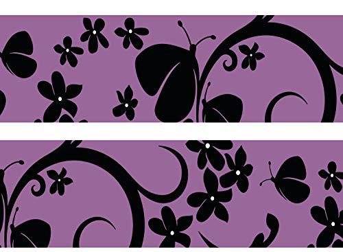 wandmotiv24 Bordüre Velvet Butterfly 260cm Breite - Vlies Borte Tapetenbordüre Bordüren Borde Wandborde violett Schmetterling Schwarz M0068 -
