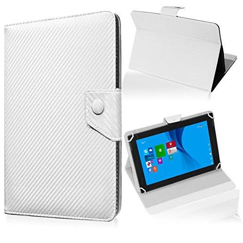 UC-Express Tablet Tasche für Blaupunkt Endeavour 101M Hülle Schutzhülle Carbon Case Cover, Farben:Weiß