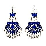 #5: Crunchy Fashion Jewellery Stylish Afghani Tribal Oxidised Silver Long Lotus Earrings for Girls Fancy Party Wear Traditional Earrings for Women