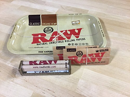 Raw Rolling Tray 11 in x 7 in + Raw 110mm Roller Machine + (2) Raw King Size Rolling Papers by Raw ()