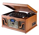 Lauson CL146 - Tocadiscos Bluetooth de Madera - Función Encoding, CD, Cassete, Radio, USB, mp3,  3 velocidades, 33/45/78 RPM con Altavoces Incorporados