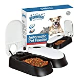 Pawise Automatic Pet feeder per cani, gatti e piccoli animali, borsa Pet food dispenser, 2 Meal-300ml*2, Infradito colorati estivi, con finte perline
