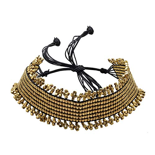 Zephyrr Choker Necklace Tribal Style Golden Metal Beaded with Black Threads