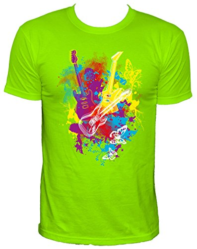 NEON Guitar splatter Party Herren T-Shirt,neongrün,L (Splatter-premium-t-shirt)