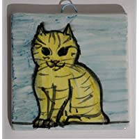 The cat-Ceramic tile hand decorated, dimensions inch 3.9x3.9x0.3 inch. Made in Tuscany Italy, Lucca.