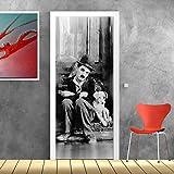 wall art PT0143 Decorazione Adesiva per Porte arredo casa - Porta Charlie Chaplin - Stampa su PVC Adesivo Bubble Free
