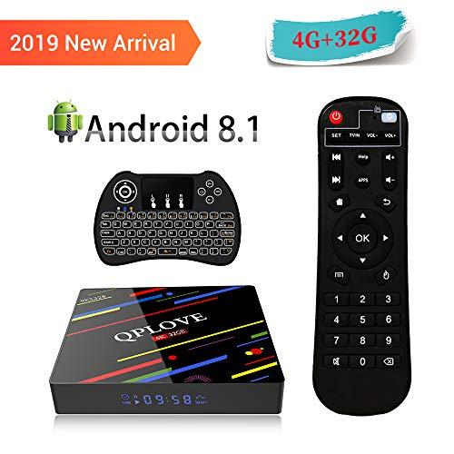 [Android 8.1 TV Box] QPLOVE Max+ Smart TV Box Quad Core 4GB RAM + 32GB ROM/ 4K * 2K UHD H.265/ HDMI/USB 3.0/ WLAN 2.4GHz Media-Player/Android-Set-Top-Box mit Mini Wireless Backlit Keyboard
