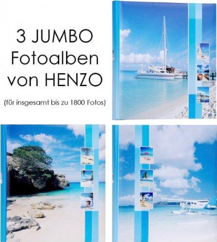 HENZO 3er Set Jumbo Fotoalbum - Insel + Schiff + Flugzeug - für bis zu 1800 Bilder - Jumboalbum - Album - Urlaubsalbum