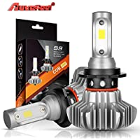H7 LED Headlight Bulbs Autofeel 12V 8000LM Waterproof IP68 Super Bright Car Exterior White Light Built-in Driver Lamp All-in-One Conversion Bulb Kit High Low Beam with Cool White Lights - 1 Year Warranty