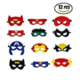 Superhelden Masken, Filz Superhero Cosplay Party Masken Halbmasken mElastischen Seil für Erwachsene und Kinder Party Maskerade Multicolor,12 Stück