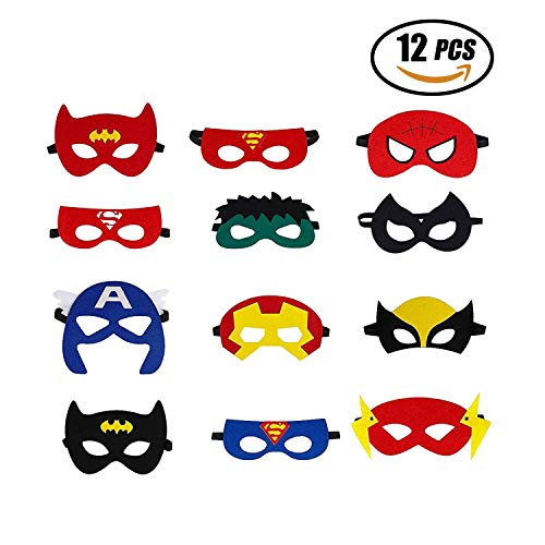 Erwachsene Kostüm Superhelden Für Party - Superhelden Masken, Filz Superhero Cosplay Party Masken Halbmasken mElastischen Seil für Erwachsene und Kinder Party Maskerade Multicolor,12 Stück