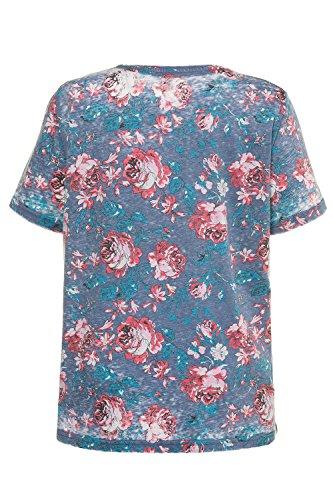 Ulla Popken Damen Regular T-Shirt mit Floralem Alloverprint Himmelblau