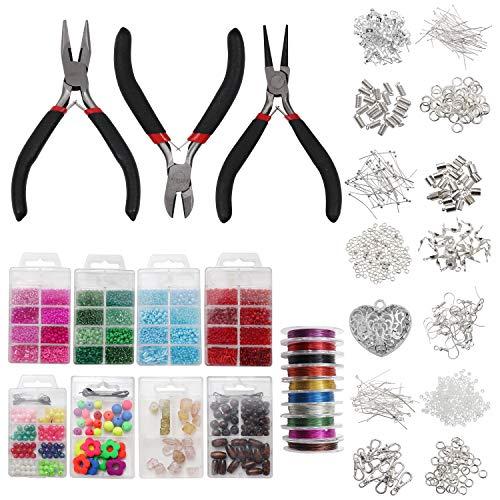Schmuckherstellung Kit - Versilbertes Schmuckherstellung Set mit 3 Zange, 12 Silber Zubehör,10 Draht,1 Herz-Anhänger und mehr - Werkzeugen für Ohrringe,Ketten und Armband