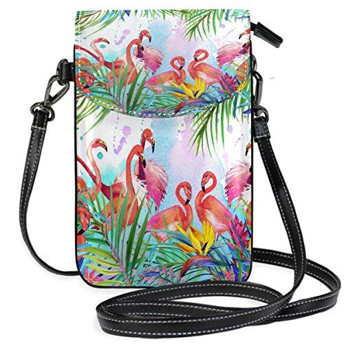 ZKKO Flamingo Animal Bird Palm Leaf Mini Umhängetasche Handtasche Handtasche Leder für Frauen Casual Reisen Wandern Camping -