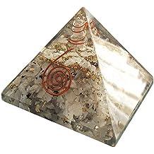 Pirámide de Orgonita con cristales de piedra de luna arco iris (7cm x 7cm). Generador de energía orgón, equilibra la energía ambiental y protege contra campos electromagneticos