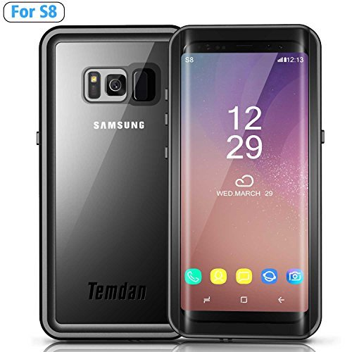 Temdan Galaxy S8 Waterproof Case with Kick Stand and Floating Strap Up to 33ft/10m Waterproof Case for Samsung Galaxy S8 (5.8inch)-BLACK/CLEAR
