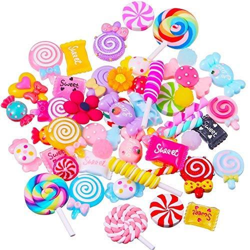 Set, 60 Stück Charms Schleim Perlen Herstellung Supplies Geburtstag Weihnachten Geschenk für Kinder Mädchen Schleim verschiedene Früchte Süßigkeiten Süßigkeiten Flatback ()