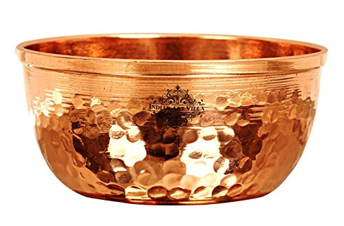 IndianArtVilla - Cuenco de cobre martillado, vajilla para el hogar, hotel o restaurante (diámetro 8,9 cm, color marrón), cobre, cobre, Small