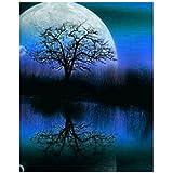 QIYUN.Z Monlight Tree 5D Diamantbesetzt DIY Handwerk Malerei Partielle Bohrer Stickerei Kreuzstich Kunst Handwerk Hause Wanddekor 9.84 * 11.81 inch