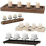 LS Kerzenschale Kerzenständer Kerzenhalter Kerzentablett Holz 53cm braun