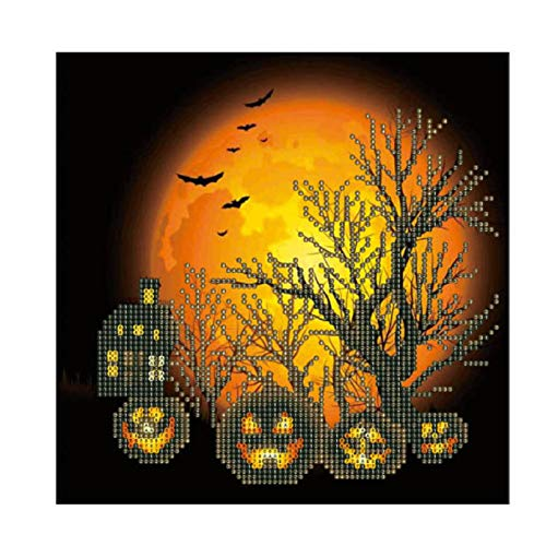 ngshanquzhuyu Kostengünstig 1 Stück Kürbis Halloween Diamant Gemälde Stickerei Kreuzstich Kunst Home Wand Deko Halloween für Zuhause Dekoration - X880 (Up Pin Halloween Kunst)
