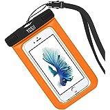 Funda Impermeable YOSH® Bolsa Impermeable Sumergible para Móvil iPhone se 5 5s 6 6s Plus Samsung LG HTC HUAWEI Funda Acuática Resistente al Agua IPX8 Certificado Universal 6 Pulgadas (naranja)