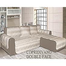 Copridivano trapuntato DOUBLEFACE - Salva divano - 100% MADE IN ITALY - 3 POSTI + PENISOLA - Righe Naturale