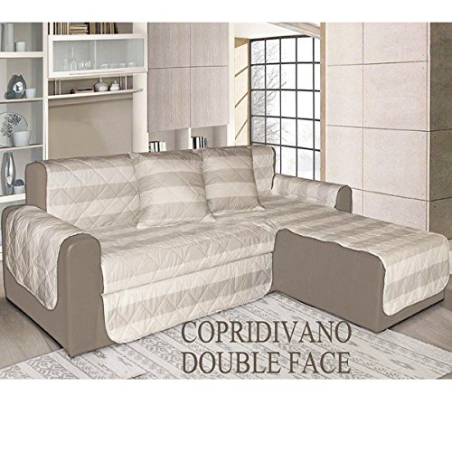 Copridivano trapuntato doubleface salva divano 100 made in italy 3 posti penisola - Copridivano 3 posti con penisola ...