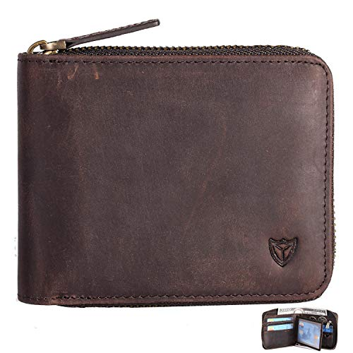 0464f3aaae Cerniera in pelle portafoglio uomo cerniera RFID intorno al portafoglio  Porta carte multi portafoglio Bifold (