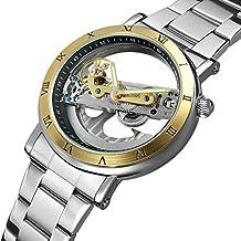Para hombre Metal automático reloj mecánico transparente Dial números romanos Golden funda correa de acero inoxidable