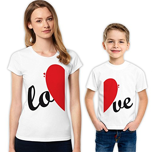 LO-VE madre e hijo familia camisas a juego - Blanco -