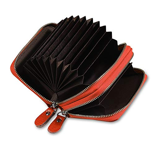 Etmury Leder Kreditkartenetui RFID Scheckkarten Kartenetui Visitenkartenetui Hülle-Halter-Schutz für Damen Herren (Orange-2 Zipper) Orange-halter