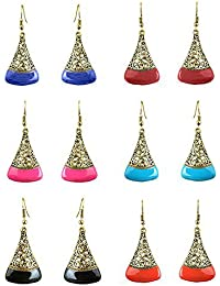 YouBella Multicolor Gold-Plated Combo Of 6 Dangler Earrings For Women
