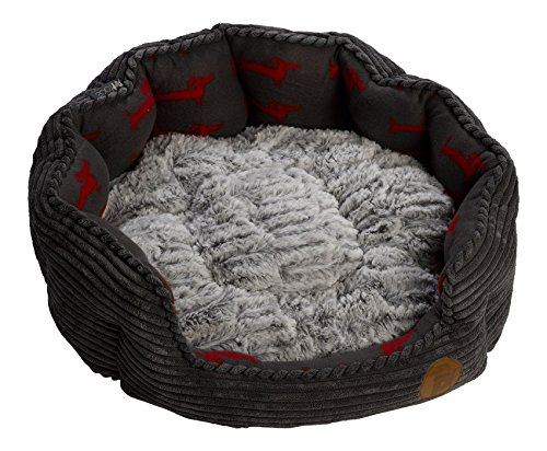 Petface Grey Jumbo Corduroy Pet Oval Bed Dog Deli Fleece & Faux Fur Cushion Basket (Various Sizes)