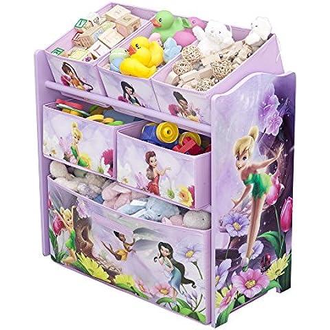 Disney Fairies - Contenitore in legno per giocattoli con 6 (Bambini Bin Organizer)