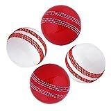 Kosma Set of 4 Windball Cricket Ball | Soft Training Balls | Sports & Outdoors - ( 2 Pc Red Seam, 2Pc White Seam)