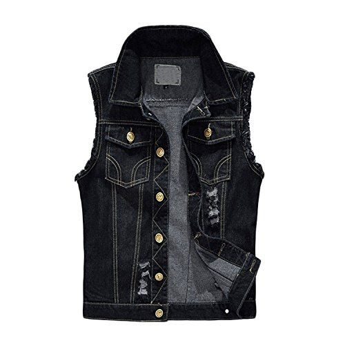 Xinmingyue Mens Plus Size Jeans Jackets Broken Hole Working Vest Waistcoat Gilets